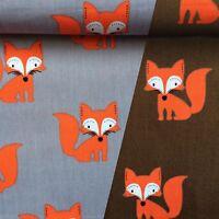 Baumwollstoff Oranger Fuchs Kinderstoff Dekostoff Baumwolle Öko-Tex 0,5m