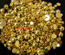 800 Pcs Gold Gloss Flatback Round Half Faux Pearls Beads DIY Crafts Nail Art