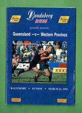 #BB.  1993 RUGBY PROGRAM - QLD vs WESTERN PROVINCE