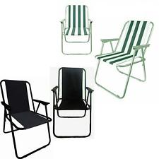 2 x Folding Camping Deck Chair Garden Lawn Patio Spring Foldable Seat Outdoor