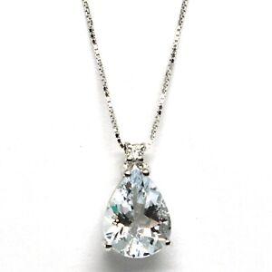 18K WHITE GOLD NECKLACE AQUAMARINE 1.60 DROP CUT & DIAMOND, PENDANT & CHAIN
