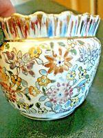 RARE Antique Fischer J. Pest Budapest Floral & Gold Majolica Planter/Bowl #1700