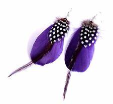Boucles d'oreilles plumes naturelles violettes, chocolat, noires et blanches