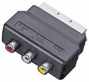 RGB SCART Plug to 3 RCA A/V Adaptor Converter for TV DVD VCR Wii Xbox PS2