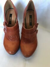 Asos Tan Leather Platform High Heel Shoes Size UK7 Small Fit