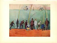 """1954 Vintage Full Color Art Plate """"FISHERMEN WITH LINES"""" RAOUL DUFY Lithograph"""
