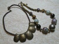 CHUNKY MULTI COLOR LUCITE BEADED BEADED BRONZE TONE BOHO NECKLACE LOT