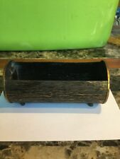 Vintage Metal Container Log For Storage Table Top Item
