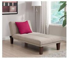 Indoor Chaise Lounge Chair Single Sleeper Sofa Beige Bed Recline Furniture New