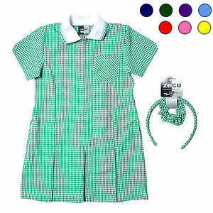 Zeco Gingham Dress with full zip and front pleats - free headband & scrunchie