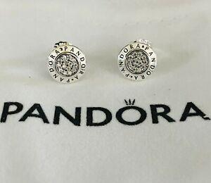 Authentic PANDORA Sparkling Logo Signature Stud Earrings #290559CZ
