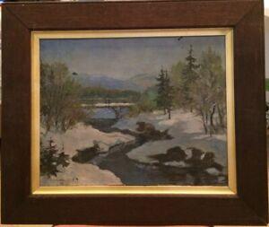 "RUSSIAN SCHOOL,""Bridge Under Snow"" Oil On Canvas, Signed M Gaczov '09-39cmx49cm"