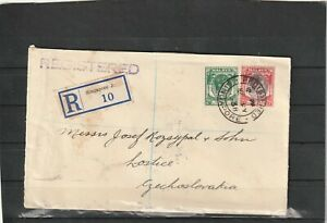 Singapore REGISTERED COVER TO Lostice Czechoslovakia 1938
