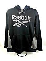 Reebok Mens Black Hoodie Sweatshirt w/Reebok Spellout Long Sleeve Size L-Perfect