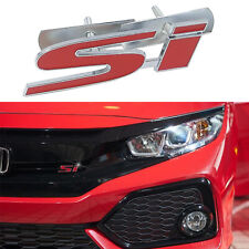 Metal Chrome RED Si Logo Racing Front Grill Grille Emblem Badge For Honda Civic