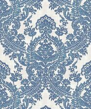 Batik Blue Wallpaper Damask Traditional Glitter Sparkle Feature Vinyl Grandeco