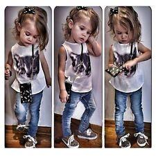 2pcs Kids Baby Girls Dress Sleeveless Tops+Denim Pants Jeans Sest Kids Clothes