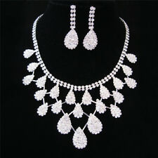 Women Lady Crystal Drop Neclace Rhinestone Wedding Bridal Jewelry Set 3c 4