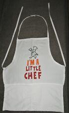 Kids apron white cotton I'M A Little Chef Christmas birthday gift kitchen helper