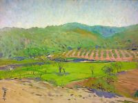 FIELDS OF TILLAGE. OIL ON CANVAS. SIGNED ANTONI MUNILL. SPAIN. CIRCA 1960