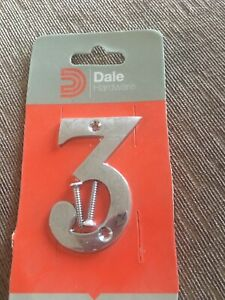 DALE HARDWARE POLISHED CHROME NUMBER 3 DOOR PLAQUE SIGN NEW IN PACK