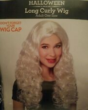 New Halloween Long Curly Wig Bleach Blonde Adult One Size