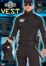Men's SWAT Vest Costume Black Tactical Vest Adult Standard Size