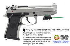 ArmaLaser GTO for Beretta 92 96 M9 w/Rails GREEN Laser Sight w/FLX38 Touch Grip