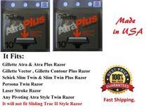 20 Gillette Atra Plus Razor Blades Cartridges Refills Shaver Made USA 12*5 1985