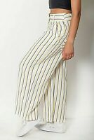 New Ex Miss Selfridge White +Yellow & Black Stripe Wide Leg 3/4Trouser Size 8-14