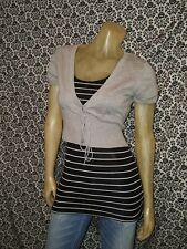 Say What Gray V Cap Sleeve Tie Waist Shrug Cardigan Sweater Juniors LARGE USED