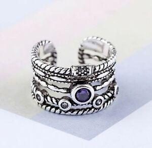 Vintage Boho Wrap Ring Purple Stone 925 Sterling Silver Adjustable Open Finger