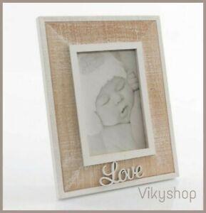 PORTA FOTO SHABBY LOVE legno da appoggio ingresso camera bianco marrone 16X27 cm