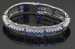 Heavy vintage 18K white gold 6.50CT Blue sapphire 10mm wide Florentine bracelet