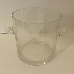 """Tiffany Co Crystal Glass Champagne Ice Bucket Scroll Handles Tapered Sides 7.5"""""""