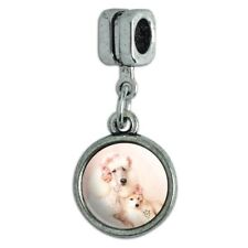 Poodles Mother and Daughter Puppy Dog Italian European Style Bracelet Charm Bead