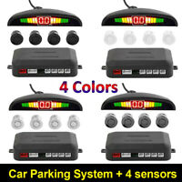 Car Reverse Parking Rear Backup Radar 4 Sensor LED Display System Kit Black
