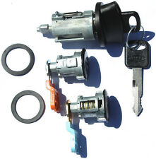 Ford Ignition Switch Lock Cylinder + Pair BLACK Door Lock Cylinder W/2 Logo Keys