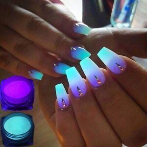 2 Pots Phosphor Nail Glow in the Dark Neon Powder Luminous Pigment Fluorescent