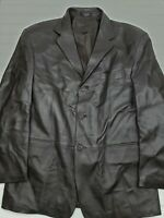 Stafford Executive Brown Leather Coat Jacket Men's Size Large HU