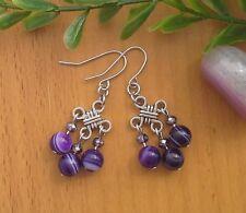 Dark Purple Stripe Agate Stone On Chinese Lucky Knot Dangle Earrings Feng Shui