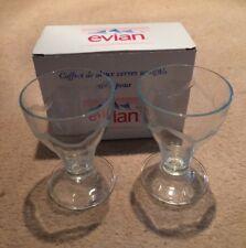 2 EVIAN WATER DRINKING GLASSES TUMBLERS RETRO WINE BAR KITCHENALIA DRINK BOXED