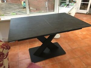COUSINS SUPPLIED MODERN  EXTENDING DRAW LEAF DINING TABLE SLATE GREY