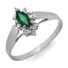 0.25 CTW Emerald Ring 18K White Gold