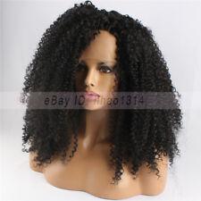 "Negro Encaje Frente pelucas de cabello sintético para mujeres negras Afro Kinky Curl 26"" de largo"