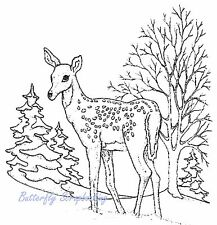 WINTER SNOWY DEER Tree Scene Unmounted Rubber Stamp DAILY BREAD DESIGNS H669 New