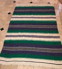 Mexican Blanket Rug Industrias de Cuauhtenco South America Green Blue Vintage