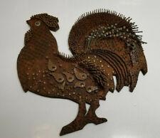 Vintage Folk Art Rooster with Nails mid century kitchen farm Tramp art