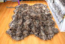 "Throw Rugs Faux Fur  60"" Mountain Coyote Brown Fur Carpet Lodge Cabin"
