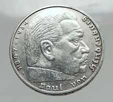 1936 Germany 2nd President Paul von Hindenburg Silver German 5 Marks Coin i64412